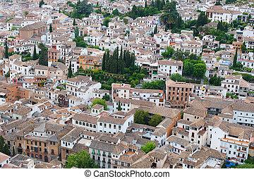 vista, encima, el, tejados, de, la ciudad, de, granada