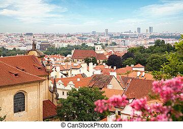 vista, encima, histórico, centro, de, praga, con, castillo