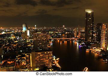 vista, encima, la ciudad, de, bangkok