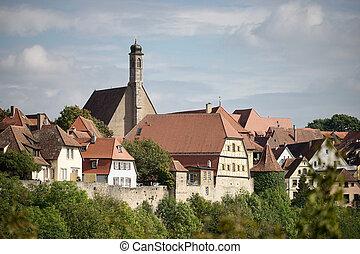 vista, encima, la ciudad, de, rothenburg