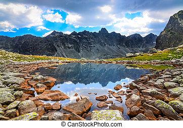 vista escénica, de, un, lago montaña, en, alto, tatras, eslovaquia