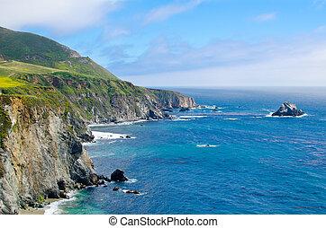 vista, escénico, ruta, 1, estado, california