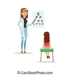 vista, exame, doutor, exame médico, pediatra, saúde...
