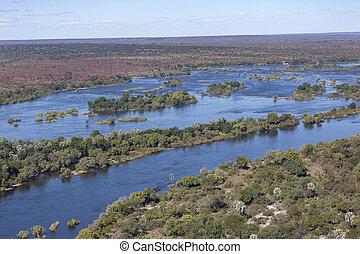 vista, -, fiume, aereo, zambezi, zimbabwe