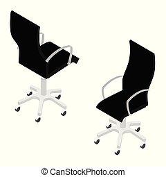 vista, fondo, moderno, ufficio, isometrico, isolato, sedia, bianco, nero, mobilia