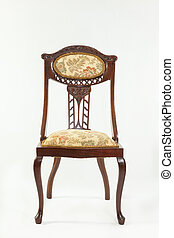 vista frontale, anticaglia, art nouveau, mogano, sedia