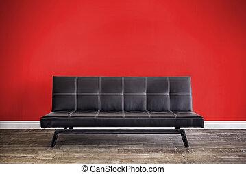 vista frontale, di, cuoio nero, sofa.