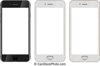 vista frontale, di, nero, bianco, e, oro, moderno, smartphone, con, vuoto, schermo bianco