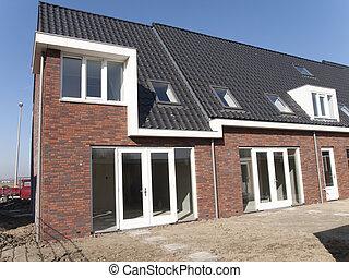 vista frontale, di, uno, casa, costruzione