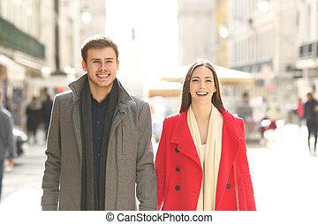 vista frontale, di, uno, coppia, fare passeggiata, in, inverno