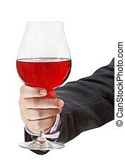 vista frontale, di, vino rosso, vetro, in, maschio, mano