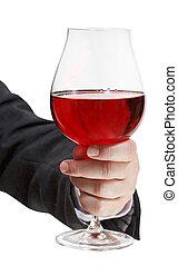 vista frontale, di, vino rosso, vetro, in, uomo affari, mano