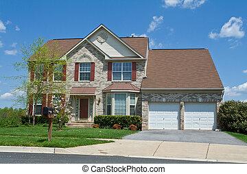 vista frontale, mattone, famiglia sola, casa, suburbano, md