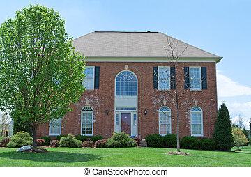 vista frontale, mattone, famiglia sola, casa, suburbano, md, ci