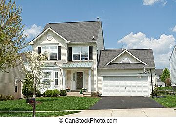 vista frontale, vinile, parteggiare, famiglia sola, piccola casa, suburbano, maryl