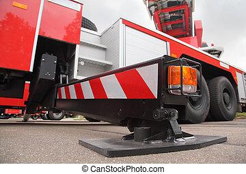 vista fundo, de, em, a, pull-out, apoio, de, grande, vermelho, despeça motor, em, dia