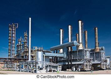 vista, gas, procesamiento, factory.