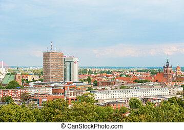 vista, gdansk, antigas, poland., cidade