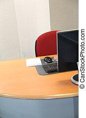 vista, geral, escritório, escrivaninha
