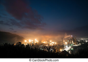 vista, gigante, plant., noturna, industrial