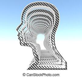 vista., humano, perfil