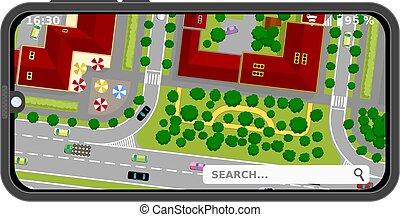 vista, illustrazione, urbano, incrocio, strade, incrocio, ...