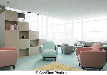 vista interior, escritório contemporâneo, lado