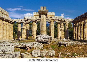 vista, interno, paestum, templo, hera-ii., italia, griego