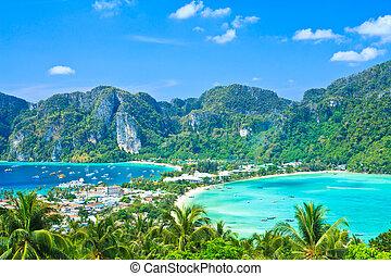 vista, isla tropical, con, recursos, -, phi-phi, isla,...