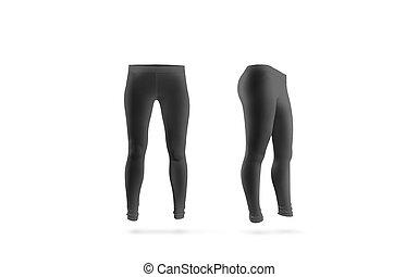 vista, isolated., mockup, leggings, em branco, frente, pretas, lado