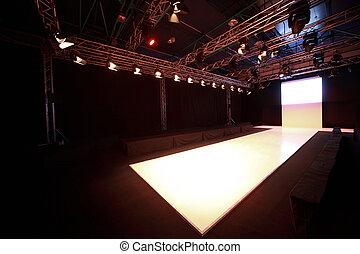 vista, lado, antes, exhibición, brillado, podio, principio, ...