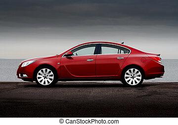 vista lateral, de, cereja, carro vermelho