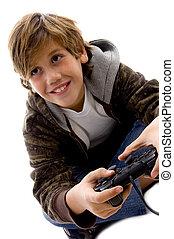 vista lateral, de, divertido, niño, juego, juego de video