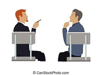 vista lateral, de, dos, hombres de negocios, sentado