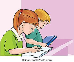vista lateral, de, estudante, estudar, com, concentração