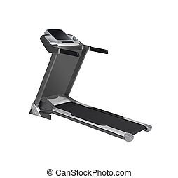 vista lateral, de, treadmill, isolado, branco, fundo