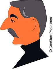 vista lateral, de, un, hombre, cara, con, gris, bigote, y, pelo, llevando, un, camiseta negra, vector, color, dibujo, o, ilustración