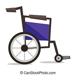 vista lateral, de, vacío, sílla de ruedas, vector, illustration.