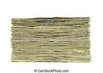vista lateral, dinheiro, isolado, branco, fundo