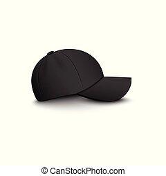 vista lateral, isolated., vetorial, em branco, boné, mockup, pretas, basebol, 3d, ilustração