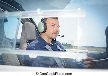 vista laterale, di, pilota, in, aereo
