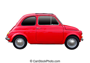 vista laterale, di, rosso, macchina vendemmia, isolato