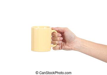 vista laterale, di, uno, donna, titolo portafoglio mano, uno, tazza