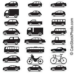 vista laterale, veicolo, collezione, con, automobile, furgone, autobus, camion, bicicletta, camion, silhouette, icone