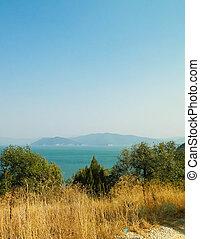vista, ligado, costa, de, lago, prespa, e, montanhas, de, galicica, parque nacional, macedonia