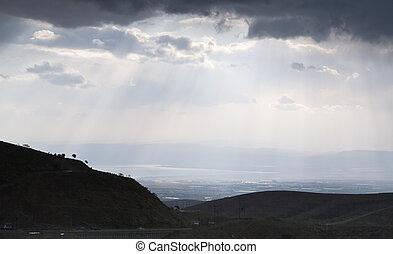 vista, ligado, mar morto, embora, vale montanha