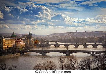 vista, ligado, pontes, em, praga, república tcheca