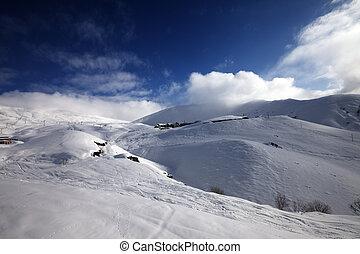 vista, ligado, refúgio esqui, em, sol, dia