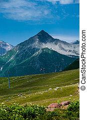 vista, ligado, refúgio esqui, gudauri, em, summer., a, república geórgia