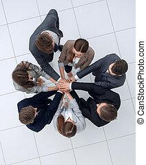 vista., mãos, negócio, junto, equipe, topo, associando